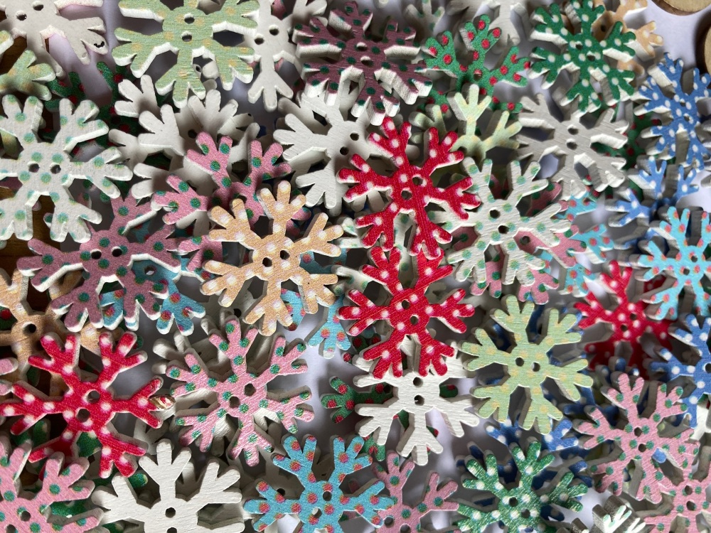 Snowflakes Wooden Buttons 25mm (Pack of 10) Random Mix