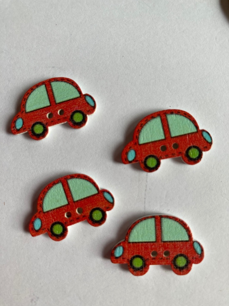 Car Wooden Buttons 24 x 15mm (Pack of  8) Red -1