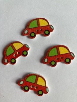 Car Wooden Buttons 24 x 15mm (Pack of  8) Red -2