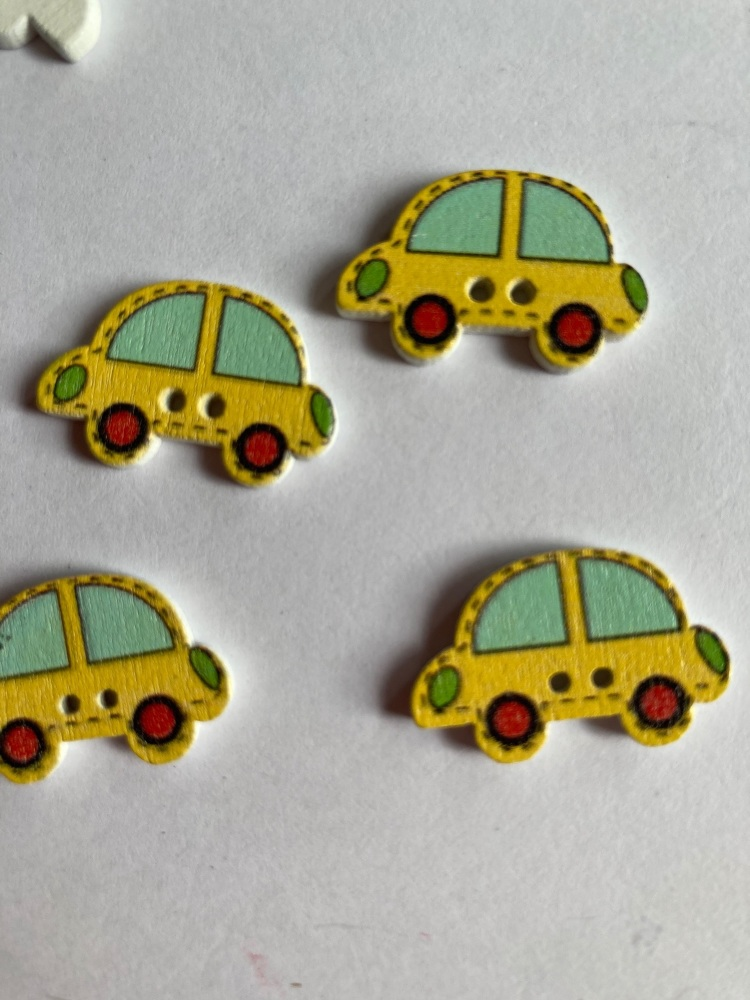Car Wooden Buttons 24 x 15mm (Pack of  8) Yellow