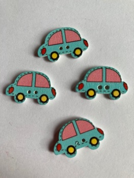 Car Wooden Buttons 24 x 15mm (Pack of  8) Blue
