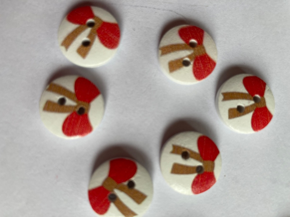 Bow Wooden Buttons 15mm (Pack of  8) Red