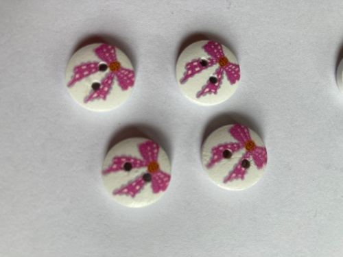 Bow Wooden Buttons 15mm (Pack of  8) Pink Dot LT