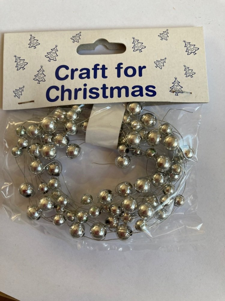 Beads on Wire Trim/ Embellishment - Silver  2.5metres