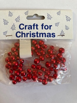 Beads on Wire Trim/ Embellishment - Red 2.5metres