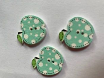 Apple Wooden Button - Mint  22x19mm (Pack of  6)