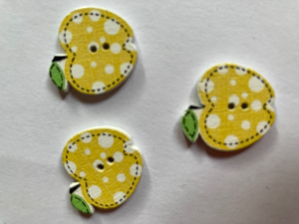 Apple Wooden Button - Yellow 22x19mm (Pack of  6)