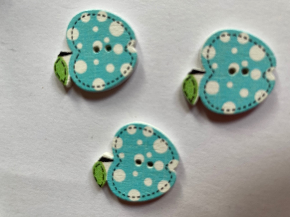 Apple Wooden Button - Blue 22x19mm (Pack of  6)