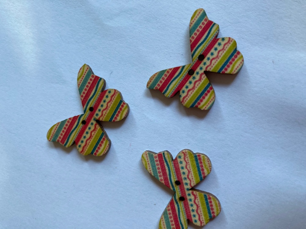 Butterfly Wooden Button 28x22mm (Pack of 6) BF01
