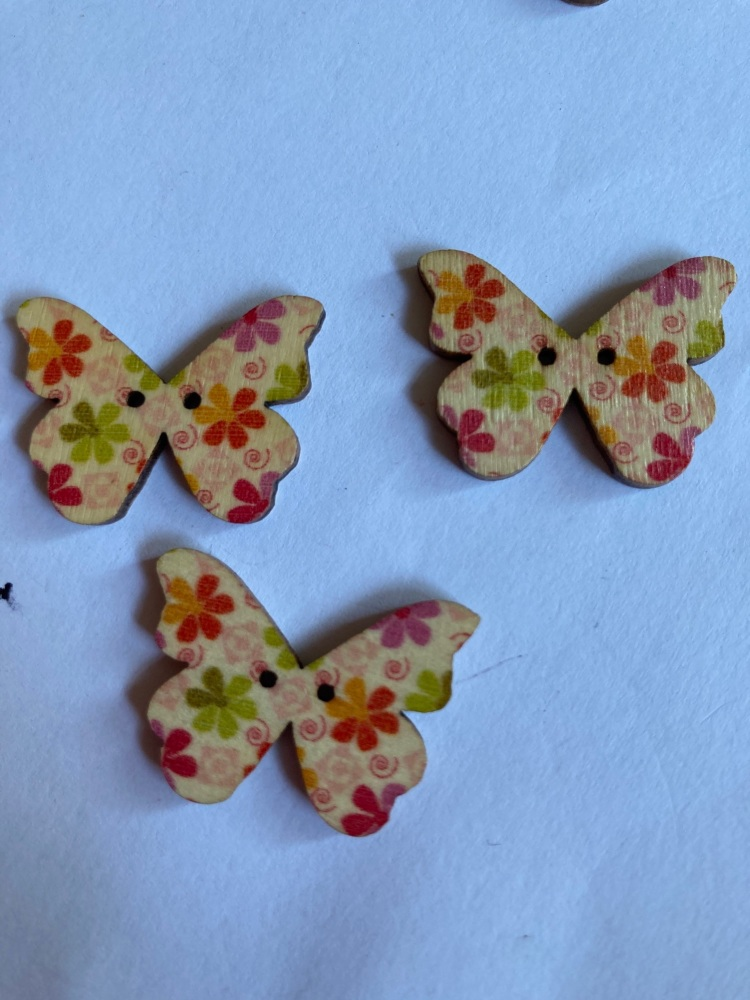 Butterfly Wooden Button 28x22mm (Pack of 6) BF02
