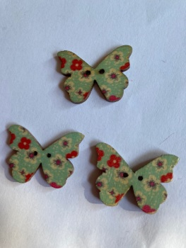 Butterfly Wooden Button 28x22mm (Pack of 6)BF03