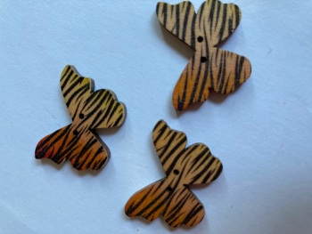 Butterfly Wooden Button 28x22mm (Pack of 6)BF04