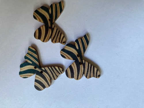 Butterfly Wooden Button 28x22mm (Pack of 6)BF05