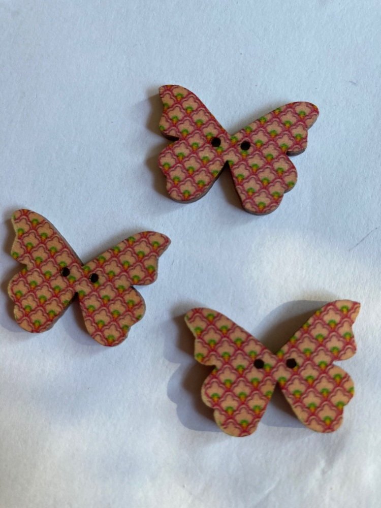 Butterfly Wooden Button 28x22mm (Pack of 6)BF07