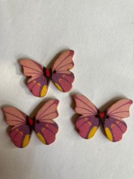 Butterfly Wooden Button 28x22mm (Pack of 6)BF16