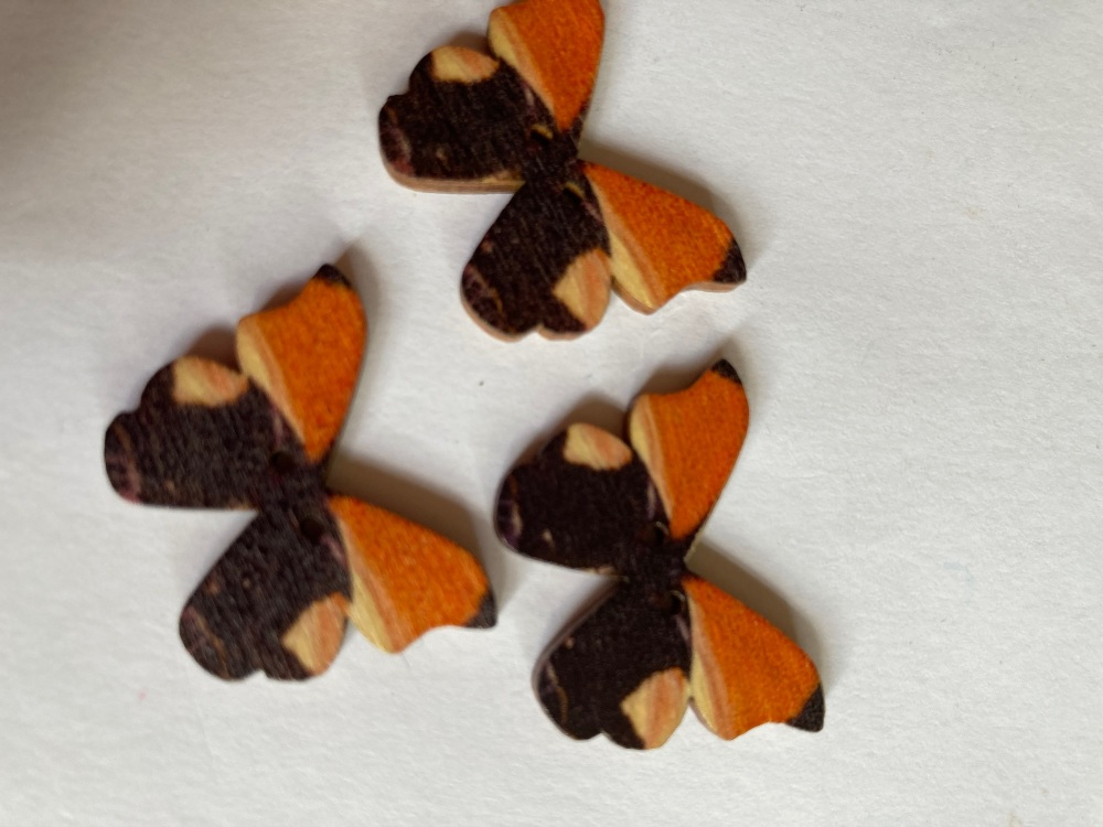 Butterfly Wooden Button 28x22mm (Pack of 6)BF14