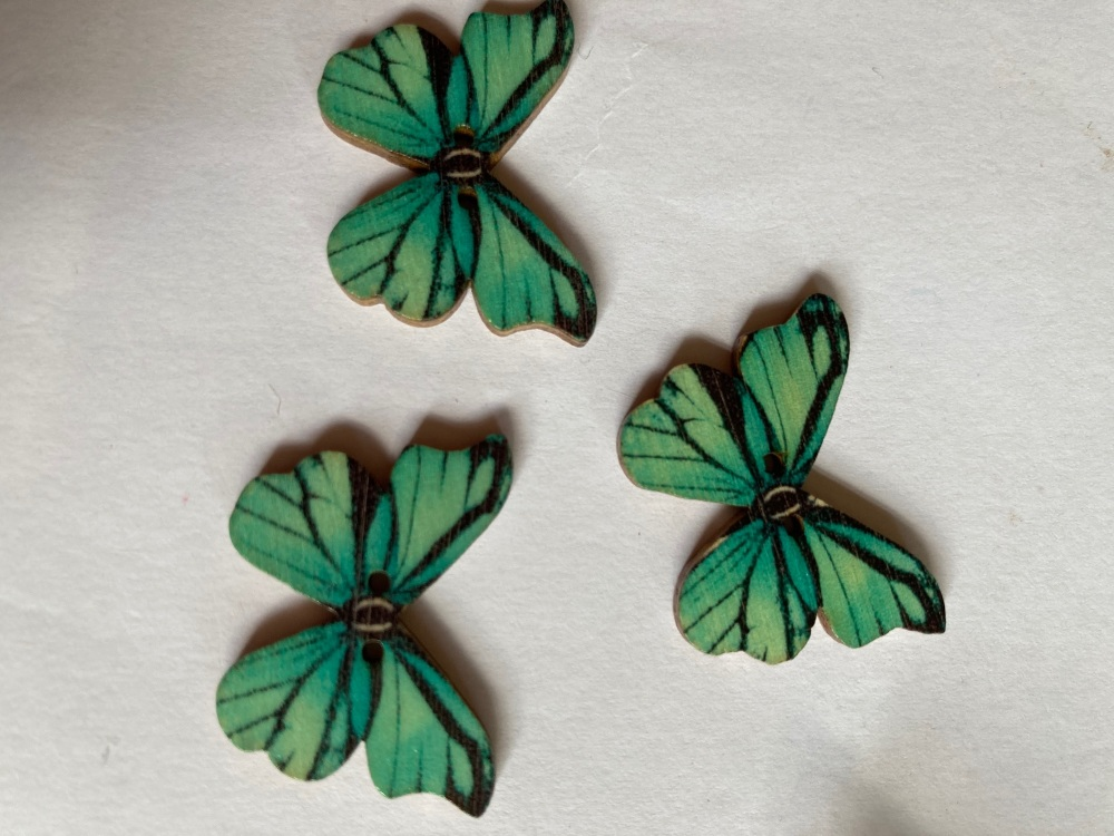 Butterfly Wooden Button 28x22mm (Pack of 6)BF11