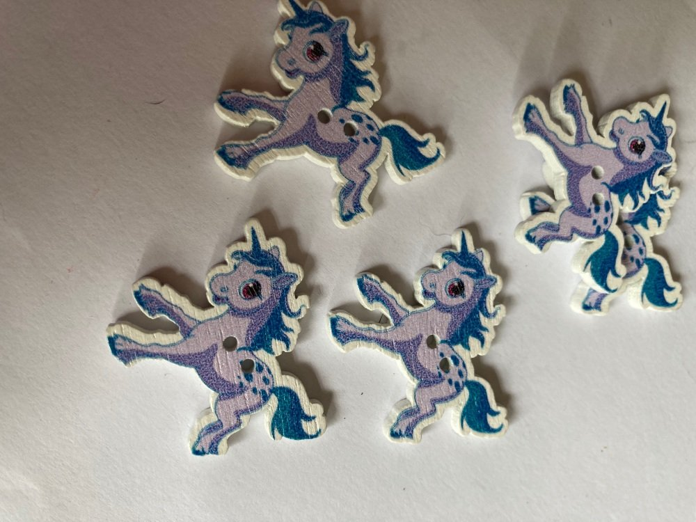 Unicorn Wooden Button - Lilac / Blue 33x27mm (Pack  of 6)