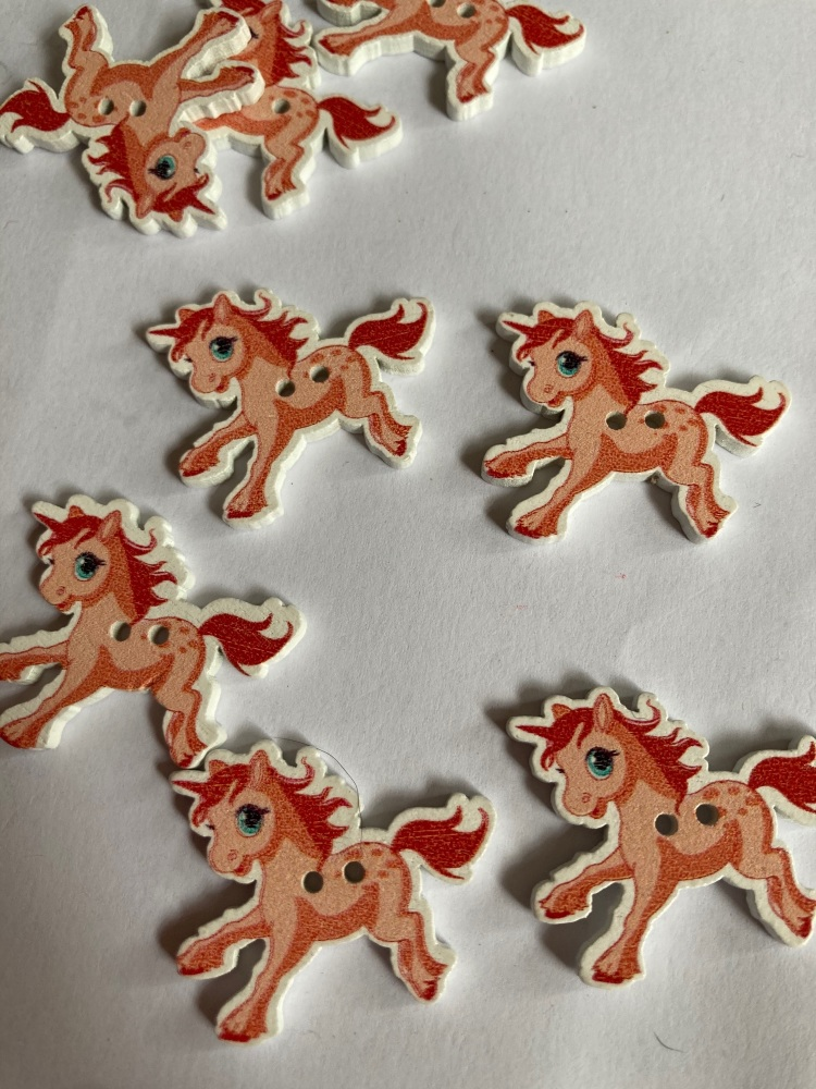 Unicorn Wooden Button - Peach 33x27mm (Pack  of 6)