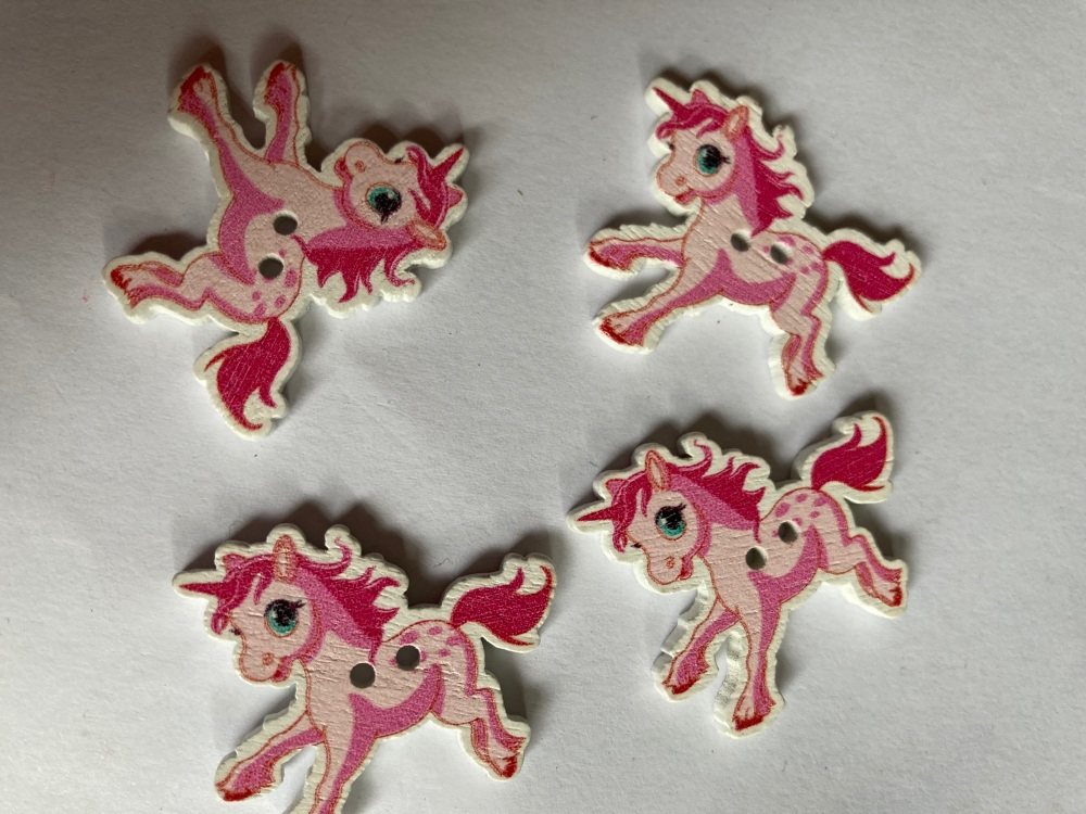 Unicorn Wooden Button - Pink 33x27mm (Pack  of 6)