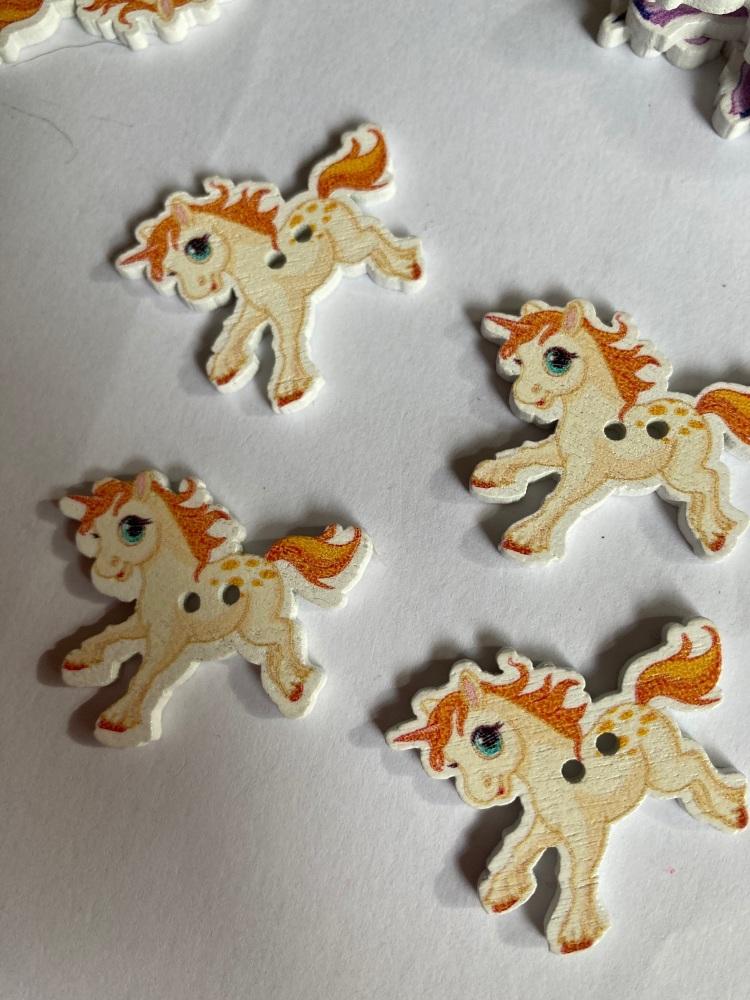 Unicorn Wooden Button - Cream / Orange 33x27mm (Pack  of 6)