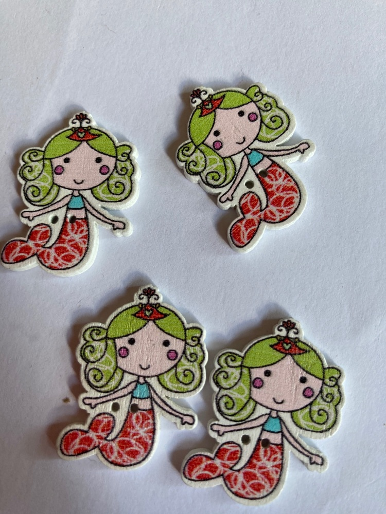 Mermaid Wooden Button - Green / Red 24x32mm ( Pack of  6)