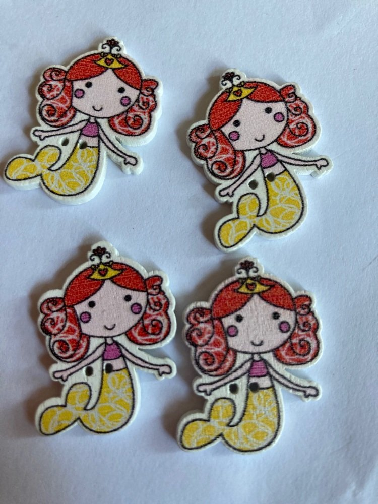Mermaid Wooden Button - Red / Yellow 24x32mm ( Pack of  6)