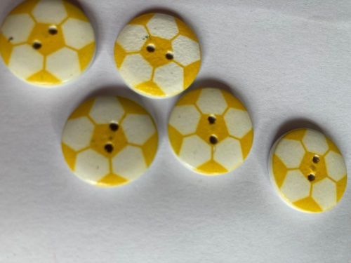 Football Wooden Button - Yellow 20mm  (Pack of 6)