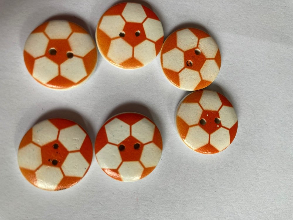 Football Wooden Button - Orange 20mm  (Pack of 6)