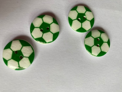 Football Wooden Button - Green  20mm  (Pack of 6)