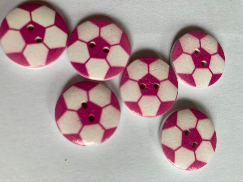 Football Wooden Button - Cerise / Pink 20mm  (Pack of 6)