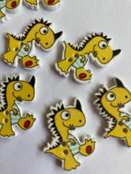 Dinosaur Wooden Button 26x21mm  (-Pack of 6)Yellow