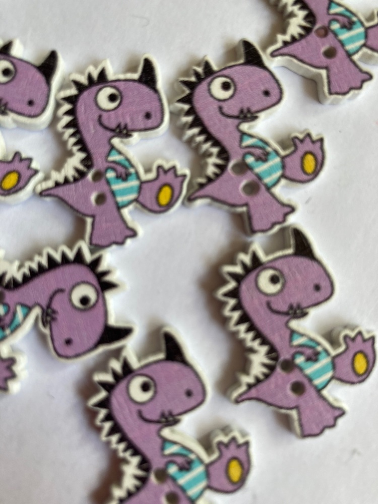 Dinosaur Wooden Button 26x21mm  (-Pack of 6) Lilac