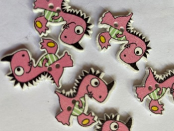 Dinosaur Wooden Button 26x21mm  (-Pack of 6) Pink