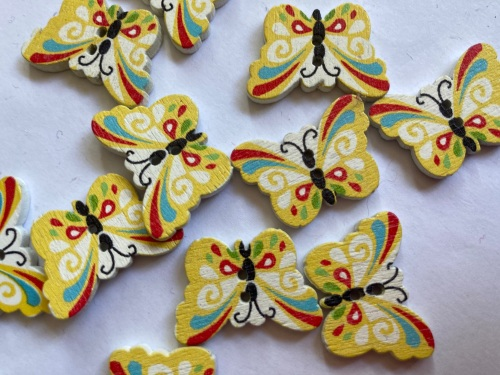 Butterfly Wooden Button  24x18mm (Pack of 8) WD50