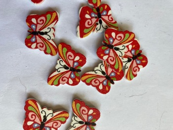 Butterfly Wooden Button  24x18mm (Pack of 8) WD51