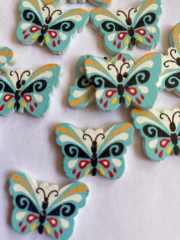 Butterfly Wooden Button  24x18mm (Pack of 8)WD53