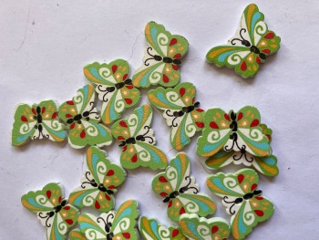 Butterfly Wooden Button  24x18mm (Pack of 8) WD55
