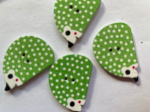 Hedgehog  Wooden Button 25x12mm  (Pack of 6) Green