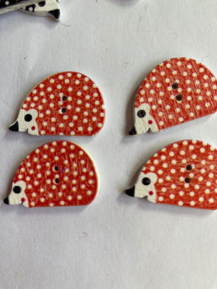 Hedgehog  Wooden Button 25x12mm  (Pack of 6) Red