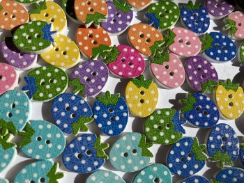 Strawberry/ Fruit Wooden Buttons 16x12mm - Random Mix of 12