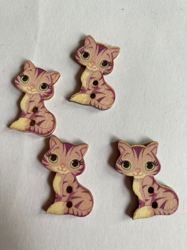 Cat Wooden Buttons 28x18mm - Pack of  10  AM50