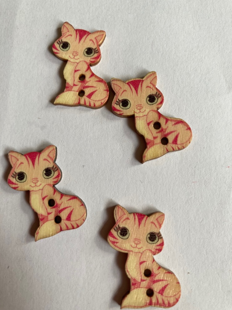 Cat Wooden Buttons 28x18mm - Pack of  8 AM51