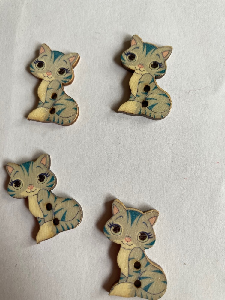 Cat Wooden Buttons 28x18mm - Pack of  8 AM54