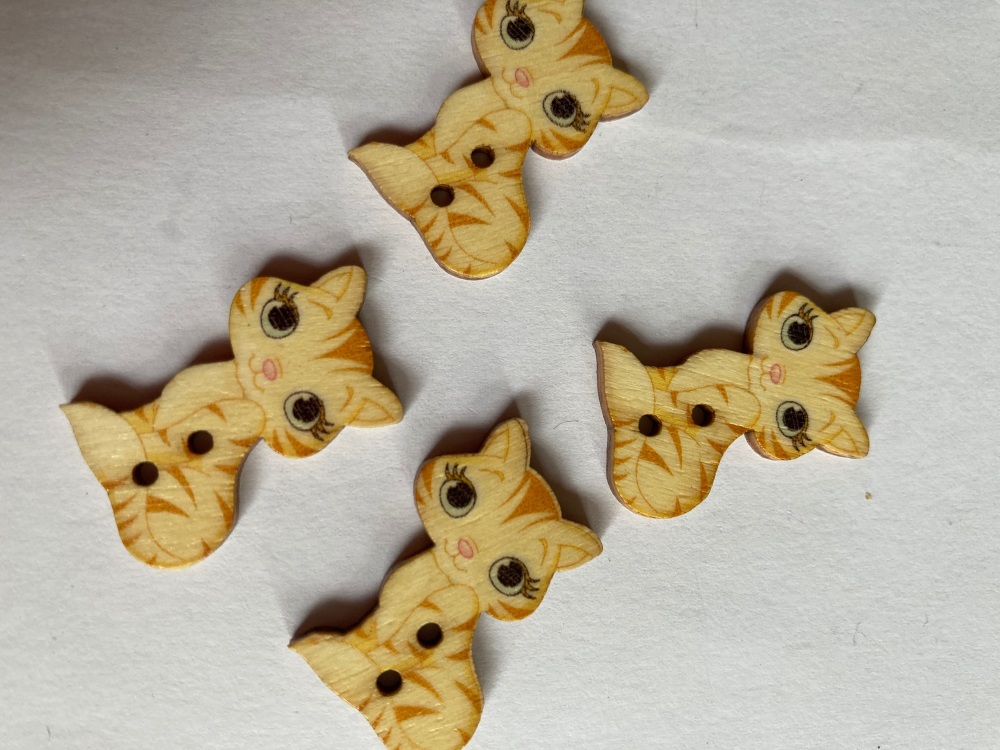 Cat Wooden Buttons 28x18mm - Pack of  8 AM55