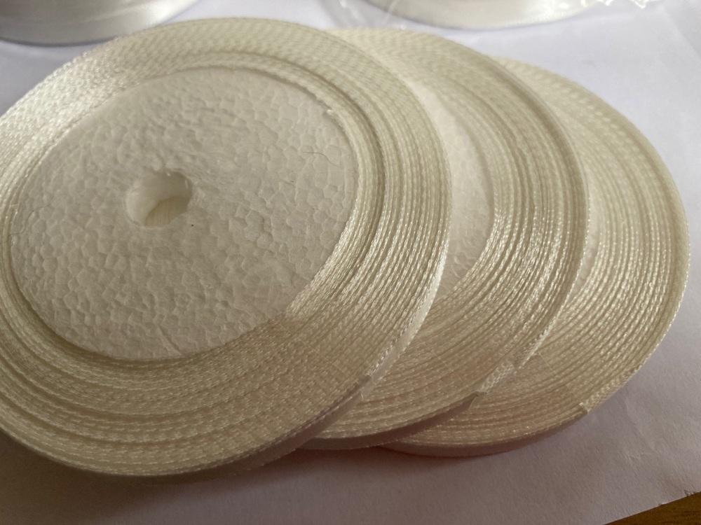 White / Off White Single Satin Ribbon 6mm FULL ROLL 25 yards/22+metres