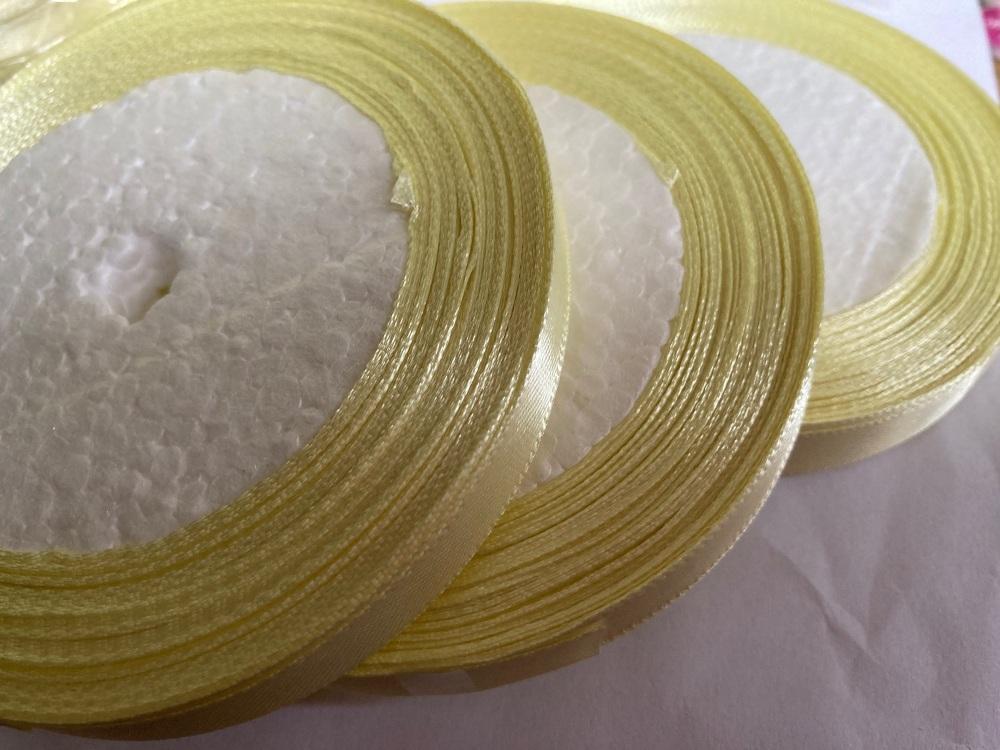 Lemon Single Satin Ribbon 10mm FULL ROLL 25 yards/22+metres