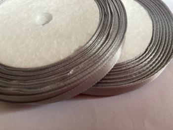 Grey - Silver Single Satin Ribbon 10mm FULL ROLL 25 yards/22+metres