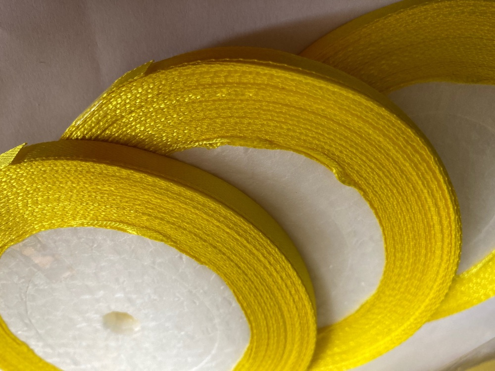 Yellow Single Satin Ribbon 6mm FULL ROLL 25 yards/22+metres