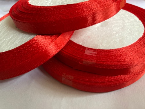 Red Single Satin Ribbon 6mm FULL ROLL 25 yards/22+metres